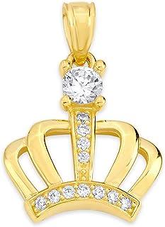 10k 纯金皇冠吊坠套装镶嵌方晶锆石,皇家珠宝皇冠吊坠礼品
