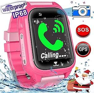 Kid 智能手表 GPS 跟踪器 带 SIM 卡插槽 IP67 防水健身追踪器 适合女孩男孩 SOS 防丢失相机游戏触摸屏数字腕 夏季户外礼物运动手表 Pink-GPS 46 * 39.5 * 15.5mm