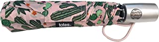 totes 自动开合 NeverWet 紧凑雨伞 43 英寸弧形,粉色带*仙人掌图案雨伞,