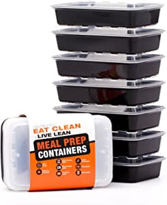 健康餐 prep. 容器–认证不含 BPA–可重复使用,可水洗,微波蒸食品容器 / 便当盒 黑色 Single Compartment, 28 Ounce