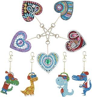 ZYXY 钻石画钥匙链 5D 马赛克制作全钻可爱动物钻石绘画吊坠 DIY 装饰,爱心和恐龙