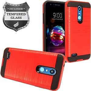 适用于 LG K30lm-x410 LG PREMIER PRO LTE l413dl LG K 10(2018)–混合双层防护硬质手机壳 + 钢化玻璃屏幕 CS3 Black/Red