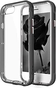 iPhone 8 手机壳,iPhone 7 手机壳,ArtMine 双层柔性 TPU 手机壳 + 防撞框架混合防震透明耐用手机壳适用于 Apple iPhone 7、iPhone 8 黑色