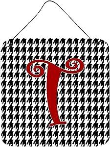 "Caroline's Treasures Letter T Initial Monogram-Houndstooth Black Wall or Door Hanging Prints, 6 x 6"", Multicolor"