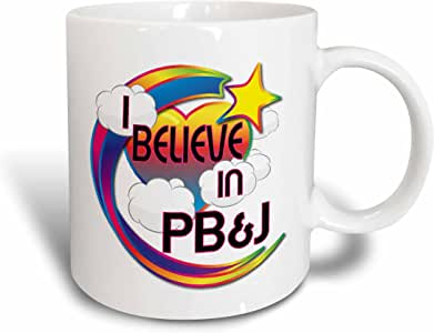 3dRose I Believe in Pb and J Cute Believer Design - Ceramic Mug, 11-Ounce (mug_166743_1)