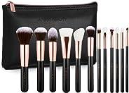 玫瑰金色豪华化妆刷套装 - 复古玫瑰 12 件化妆脸部和眼部必需品 - 优质 - 手工制作 超软*