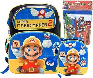 Super Mario Maker 2 套装:大号 16 英寸背包,保温午餐盒,11 件文具套装