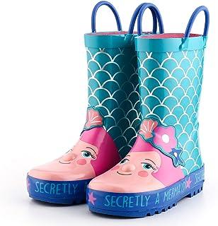 KomForme 儿童雨靴,女孩和男孩橡胶靴,动物图案,易于穿脱