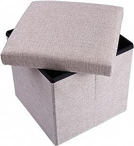 Ottoman 带储物,储物软垫涤纶折叠凳,可折叠式软垫立方体,脚凳,垃圾玩具系列
