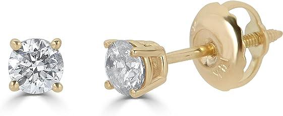 AGS 认证14K 金圆形切割钻石耳钉耳环 ( 1/ 3–2cttw  I-J 色 I1-I2净度)