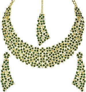 Aheli 花式人造绿宝石项链耳环Maang Tikka婚礼派对时尚首饰套装