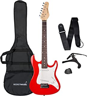 Rocket 3/4 尺寸红色电吉他 带袋子、背带、拨片、卡波和备用琴弦