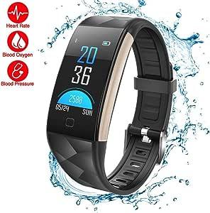 防水健身追踪器,LOMAXFR IP67 蓝牙活动手环心率腕带带计步距离计数器卡路里燃烧和*监测智能手表,男式、女式和儿童款