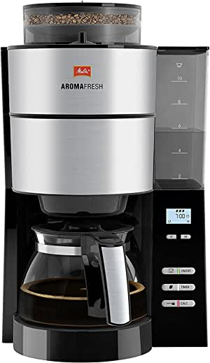 Melitta 香郁典雅,1012-01,过滤式咖啡机,带玻璃杯,黑色/拉丝钢 黑色/不锈钢 1021-01BK