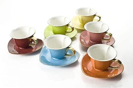 经典咖啡和茶 Inside Out 心杯和碟子,6 件套 多色心形(6 件套)杯 6.5 Oz. 554990-CC168