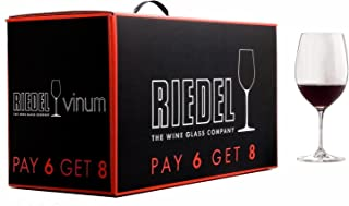 Riedel Vinum, Set of 6 plus 2 Bonus Glasses Bordeaux
