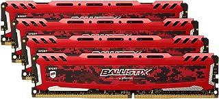 Ballistix Sport LT 64GB Kit (16GBx4) DDR4 2666 MT/s (PC4-21300) DR x8 DIMM 288-Pin - BLS4C16G4D26BFSE (Red)