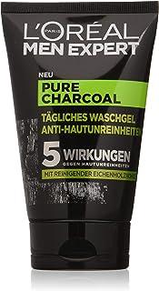 L'Oréal Paris 巴黎欧莱雅 Men Expert 纯木炭洗面啫喱,抗不纯洁的男士皮肤(镍,黑头,油性皮肤)(1 x 100 毫升)