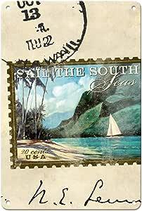太平洋岛艺术 - 南海帆 - 邮票邮票 - Wade Koniakowsky 原创拼贴艺术品 - 精美艺术印刷品 多种颜色 8 x 12 in Tin Sign MTSAWK086