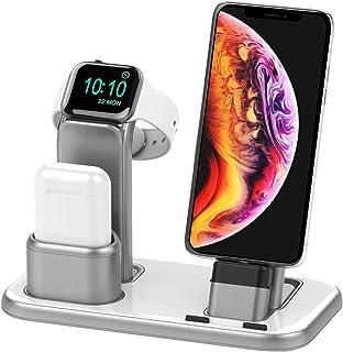Beacoo *三合一充電支架適用于 iWatch 系列 5/4/3/2/1,充電站底座與 Airpods iPhone 11/11pro/max/Xs/X Max/XR/X8/8Plus/7/6S /9.7 英寸 iPad(不含充電器和電纜) 銀色