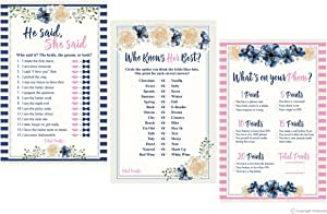 3 Bridal Shower Game Collection (50-Sheets of Each Game) - He Said She Said Game - How Well Do You Know The Bride Game - What's In Your Purse Game Blue, Pink, Cream, Blue