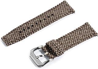 Perry Ellis 派瑞艾力斯手表表带快速释放表带替换24毫米牛仔布帆布面料表带带Genius皮革表带适用于男士女士儿童智能手表