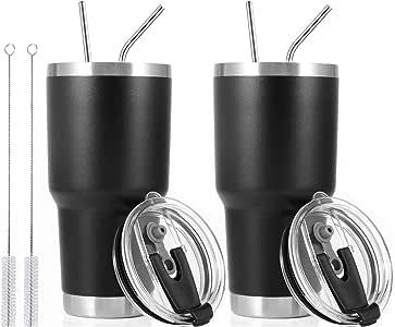 30盎司不锈钢保温杯旅行杯带吸管滑盖,清洁刷,双层真空 2 件装黑色