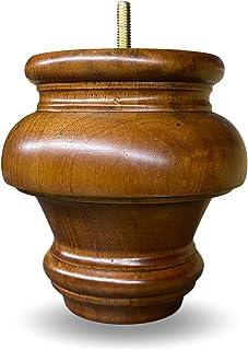 12.7cm 实木旋转圆圆圆圆圆圆齿条腿中号胡桃木饰面 0.79cm 螺栓 - 4 件套