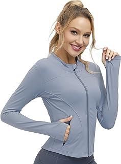 Bonim 女式修身瑜伽锻炼夹克全拉链跑步轨道轻质外套带拉链口袋 S-XXL 码