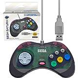 Retro-Bit 官方 Sega Saturn USB 控制器垫(型号 2)适用于 Sega Genesis Mini、PS3、PC、Mac、蒸汽、任天堂开关 - USB 端口 - 石灰