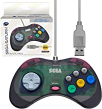 Retro-Bit 官方 Sega Saturn USB 控制器墊(型號 2)適用于 Sega Genesis Mini、PS3、PC、Mac、蒸汽、任天堂開關 - USB 端口 - 石灰