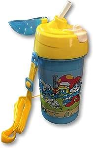 蓝精灵水壶,配有携带带和翻转顶盖,带吸管 – 蓝精灵图案