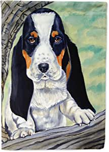 Caroline's Treasures Basset Hound at the tree Flag Made or Printed in the USA 多色 大