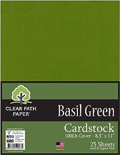 罗勒*卡片纸 - 21.59 x 27.94 厘米 - 453.6 千克覆盖 Basil Green 8.5 x 11 Inch - 25 Sheets BASILGREEN-100-811