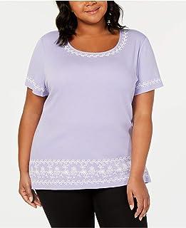 Karen Scott 女式加大刺绣条纹衬衫紫色 3X 码
