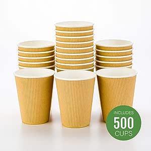 500 克拉一次性黑色 113.4 克热饮杯带波纹墙设计:无需套筒 - 非常适合咖啡馆 - 环保可回收纸 - 隔热 - 批发 Takeout 咖啡杯 牛皮纸 12盎司 RWA0279K