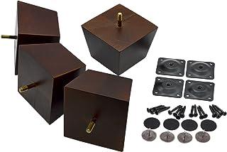 木质家具腿方形锥形饰面,4 件套。 中世纪现代风格的优质沙发腿,宜家转换套件也适用于咖啡桌和床腿。