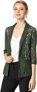 Allegra K 女式七分袖缺口翻领单扣开衫蕾丝外套 松木* Large