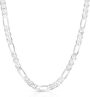 Verona Jewelers 925 纯银 Figarucci 项链,3MM 4MM 费加罗链   水手项链   纯银项链 18-30
