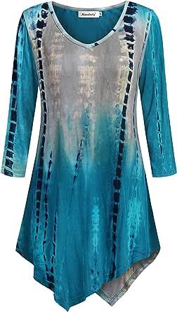 Ninedaily扎染束腰七分袖 V 领不对称女士考究女衬衫上衣 BlueGray S/US 4-6 43390-69135