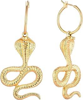 FJ 黄金蛇 20 毫米环状耳环,蟒蛇埃及法老动力耳坠