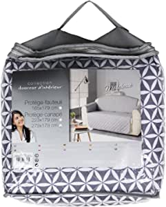 Douceur d 'Intérieur 沙发保护垫,聚酯纤维,灰色,179 x 279厘米