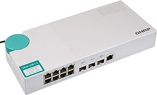 QNAP QSW-308-1C-US 10GbE Switch, with 3-Port 10G SFP+ (One 10GbE SFP+/RJ45 Combo Port) 和 8-Port Gigabit 不可控制/非托管的 Switch