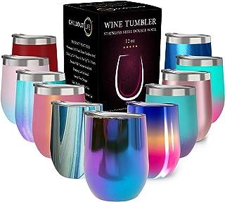 带盖不锈钢玻璃杯,双层真空绝缘葡萄酒杯 魔法蓝 12盎司