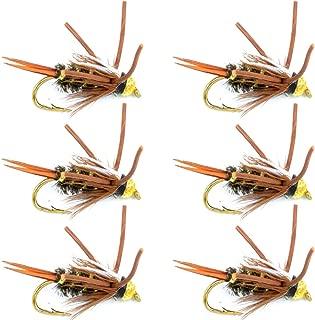飞蝇钓放置珠头尼奥匹克王子橡胶腿飞蝇钓鱼飞行 - 6 只装飞蝇钩 尺寸 12