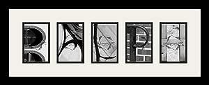 Art to Frames LetterArt-Ralph-9912-61/89-FRBW26079 字母艺术/字母摄影相框 - RALPH - 带 5-4x6 开口。 和缎面黑色框架