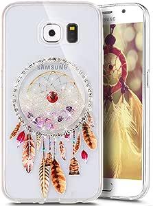Galaxy S6 手机壳,PHEZEN 透明 TPU 橡胶手机壳,适用于 Galaxy S6,Dreamcatcher 闪亮的沙子移动闪耀流动液体钻石手机壳三星 Galaxy S6 手机套,银色