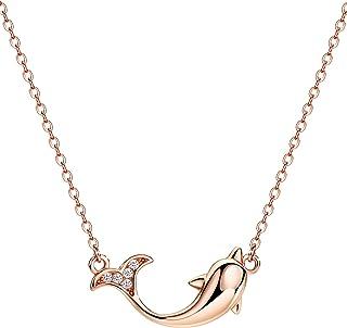 michooyel 海豚项链镀玫瑰金 925 纯银抛光爱符号吊坠项链 女孩女式