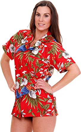 V.H.O 时尚夏威夷衬衫女式短袖前袋樱桃鹦鹉 多种颜色 红色 X-Large