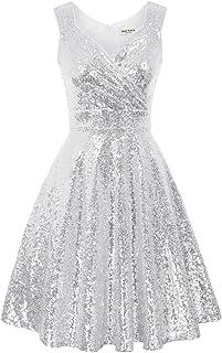 GRACE KARIN 女式无袖亮片伴娘礼服 A 字裙摆连衣裙尺码 S 银色 CL061-7